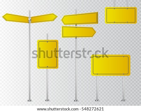 Set of yellow road signs isolated on transparent background. Vector illustration.