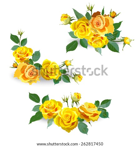 set of yellow roses garland of
