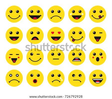 set of yellow round emoticons