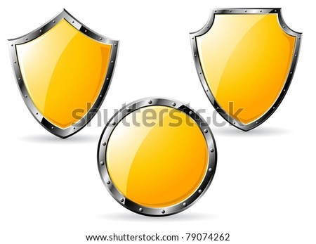 Set of yellow steel shields isolated on white background. Vector illustration.