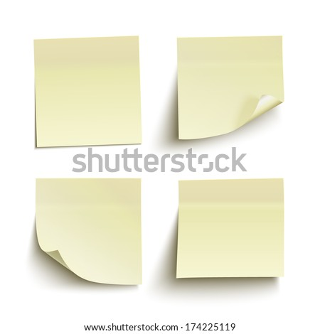 Set of yellow sticky notes isolated on white background Vector illustration