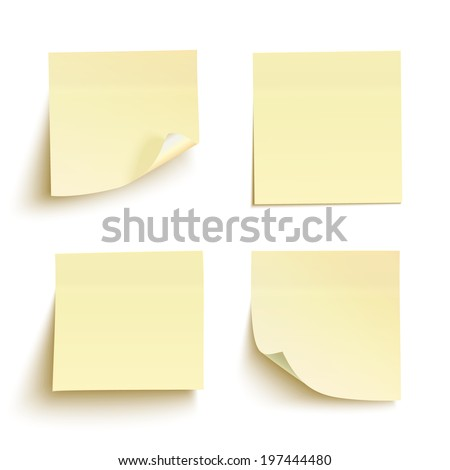Set of yellow sticky notes isolated on white background. Vector illustration