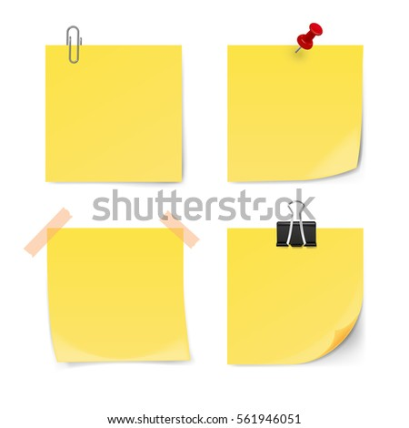 Set of yellow sticky notes isolated on white background. Vector illustration.