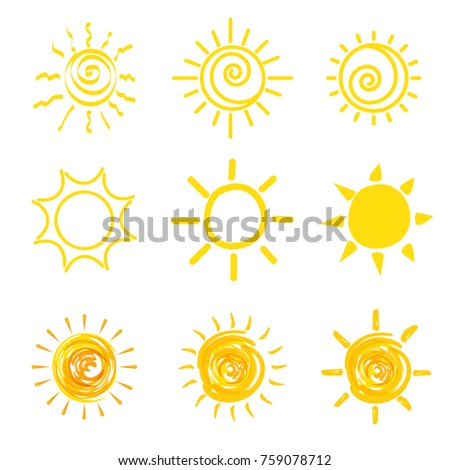set of yellow sun icons