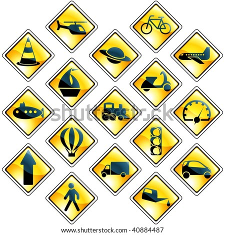 Set of 17 yellow traffic and transportation icons (vector); a JPG version is also available