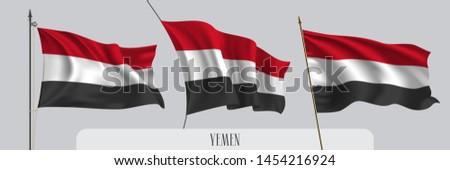 Set of Yemen waving flag on isolated background vector illustration. 3 tricolor Yemeni wavy realistic flag as a patriotic symbol