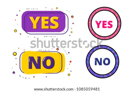 Set of Yes and No banners. Memphis style. Element for graphic design - poster, flyer, brochure, card, tag, sticker, badge. Vector illustration.