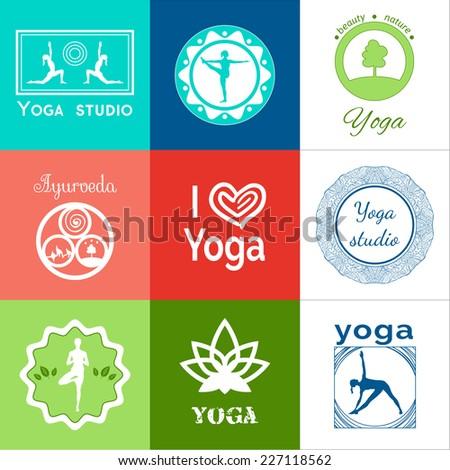 Set of yoga logos. Vector yoga illustration. Set yoga icons. Elements of yoga poster. Logo graphics and logo symbols. Yoga class, yoga center, yoga studio. Yoga sticker.  Healthy lifestyle. Recreation