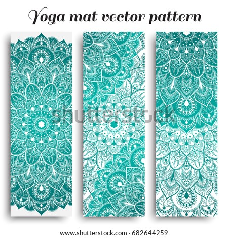 Set Of Yoga Mat Vector Pattern Light Colors