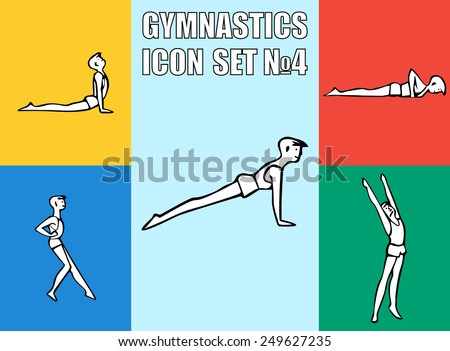Set of yoga or gymnastics poses. Boy in recreation activities. Healthy lifestyle exercises. Vector illustration icon EPS10