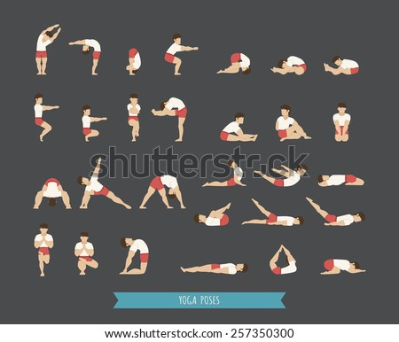 Set of yoga poses eps10 vector format