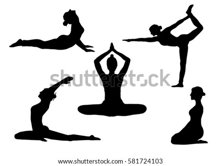 Set Of Yoga Poses Silhouettes