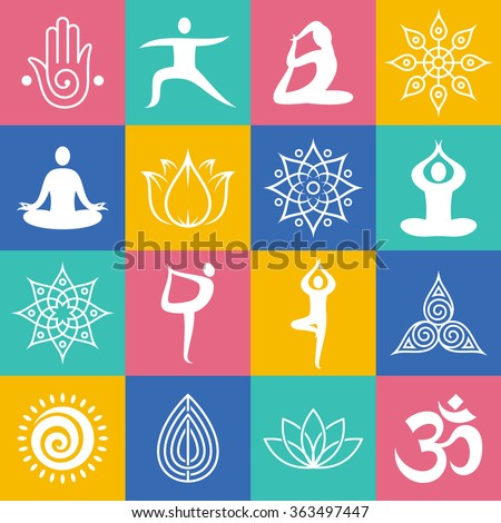 set of yoga poses  symbols and...