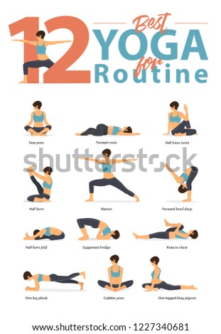 set of yoga postures female