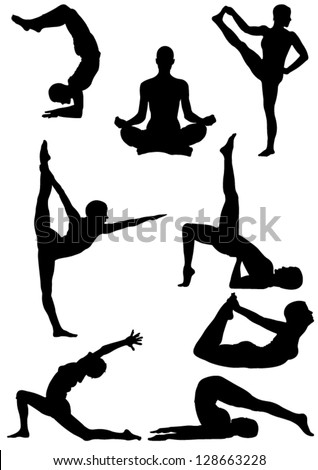 Set of Yoga Silhouette . Vector illustration