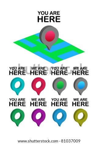 set of you /we are here location icons
