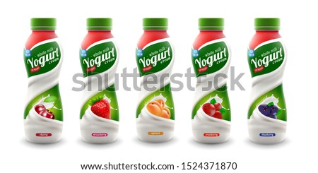 set of yougurt brand new packaging isolated design for milk, yogurt or cream product branding or advertising design