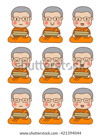 set of young buddhist monk