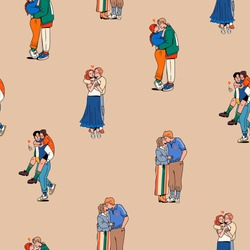 Set of Young couples in Trendy clothes. Hugging and kissing. Happy together. Romance, Valentine's Day concept. Cartoon comic style. Hand drawn Vector Seamless Pattern. Square background, wallpaper