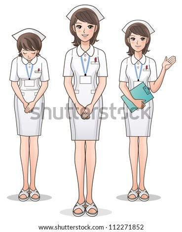 Set of young cute nurse welcoming with a smile, guiding information. Cartoon Nurse.