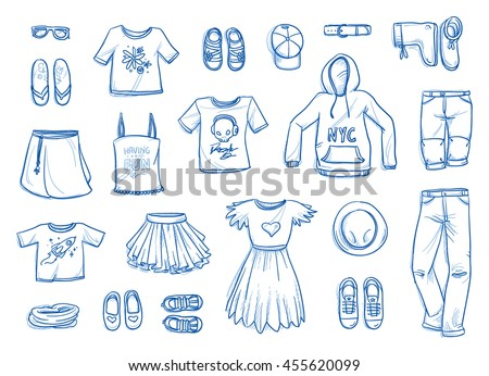 Set of young fashion objects. Clothing, accessories, shoes for children and teenagers, boys and girls. With trousers, skirt, shirt, scarf, hat, sunglasses. Hand drawn flat lay vector illustration