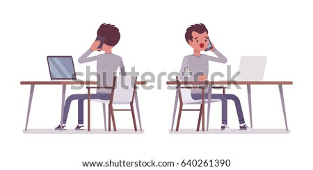 Set of young handsome man, smart casual dressing, sitting at the desk, working with laptop, talking on phone, surprised, vector flat style cartoon illustration, isolated, white background, front, rear
