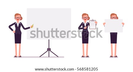 Set of young happy businesswoman in formal wear, standing near empty whiteboard, holding frame, paper and poster for copyspace, presentation of information, full length, isolated, white background