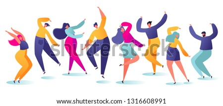 Set of young happy dancing people. Party dancer character male and female isolated on white background. Young men and women enjoying dance party. Colorful vector illustration.