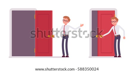 Set of young happy male clerk in smart formal wear, opening and closing red door, welcoming clients, inviting to enter the office, full length, isolated against white background