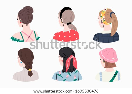 Set of young ladies with various Haircuts and accessories. Look from behind. Rear view. Women dressed in different clothes. Heads and shoulders. Beauty salon concept. Hand drawn Vector illustrations