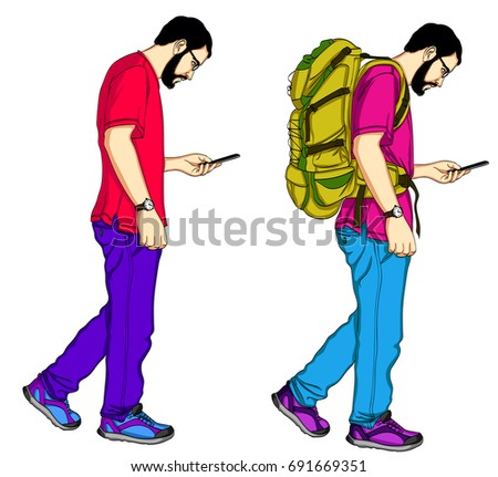Set of young male travelers  with backpacks watching in mobile. Cartoon illustration isolated watching in mobile phone on white background. Guy traveling with backpacks and watching at mobile
