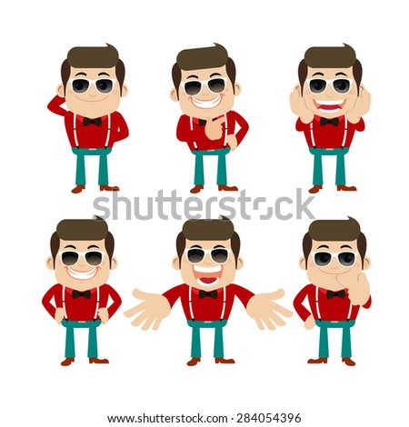 set of young man characters in
