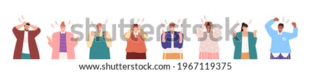 Set of young men and women expressing anger, wrath, rage, fury. Bundle of angry, grumpy, irate or furious people isolated on white background. Flat vector illustration isolated on white Сток-фото ©