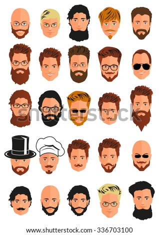 Set of 25 young men smiling portraits isolated on white background. Collection can be used by companies for logotypes, business identity, print products, page and web decor or other design. Vector.