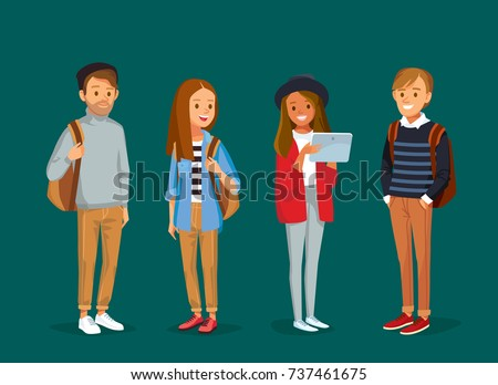 Set of young  people with gadgets and backpacks.