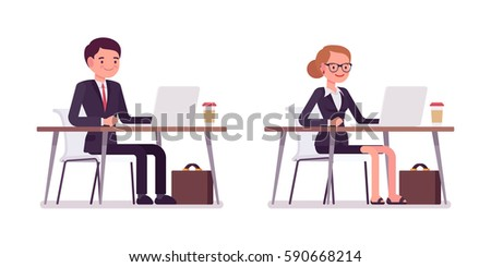 Set of young smiling and happy businessmen formal wear, sitting at the desk, working at laptop, friendly office environment, coworking space, effective workers, full length, isolated, white background