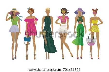 set of young stylish girls