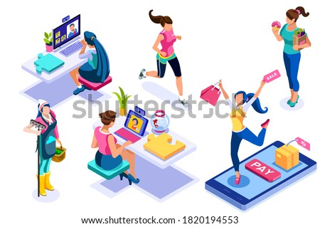 Set of young women eating, sporting and shopping. Activities of life on leisure. Working and relaxing doing the work of the life. Shopping, eating character. Collection flat people vector illustration Foto stock ©