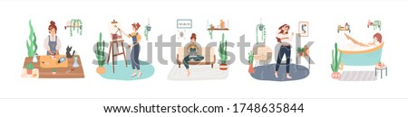 Set of young women enjoying their time at home, leisure activities and hobbies - cultivation home garden, taking spa at home, painting, work remotely, dancing. Isolated flat vector illustration. Stock fotó ©