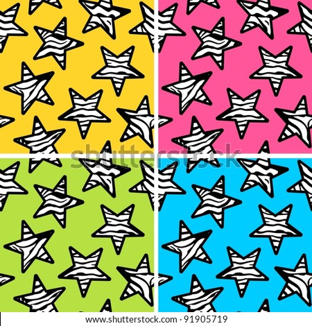 Set of zebra stars colorful backgrounds