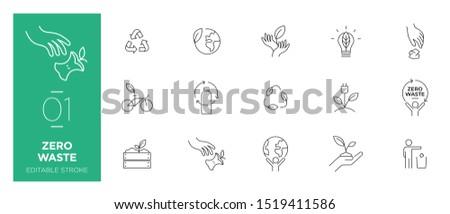 Set of Zero waste line icons - Modern icons Stockfoto ©