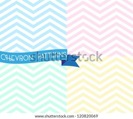 Set of zigzag seamless pattern. Colorful chevron ornament. Vector illustration