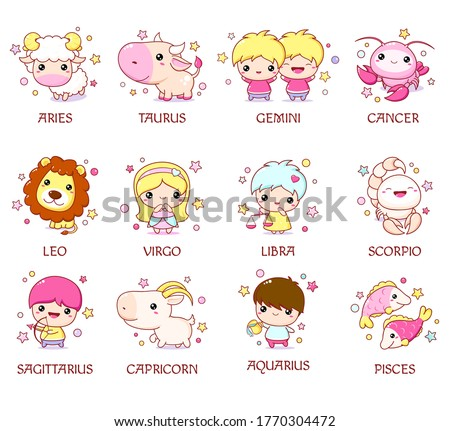 Set of zodiac sign characters in kawaii style. Cute chibi baby and animal. Aquarius, pisces, aries, leo, gemini, taurus, scorpio, sagittarius, libra, virgo, capricorn, cancer. Vector illustration EPS8