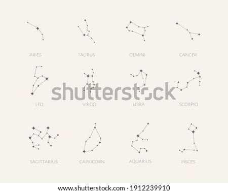 Set of 12 zodiac signs. Constellation of Aries, Taurus, Leo, Gemini, Virgo, Scorpio, Libra, Aquarius, Sagittarius, Pisces, Capricorn, Cancer.