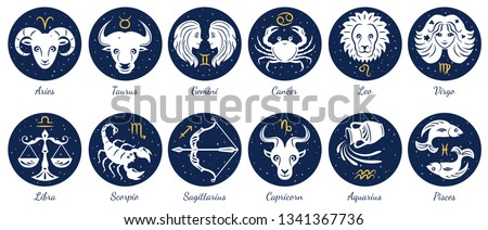 Set of zodiac signs icons. Aries, leo, gemini, taurus, scorpio, aquarius, pisces, sagittarius, libra, virgo, capricorn and cancer. Vector illustration in cartoon simple style.