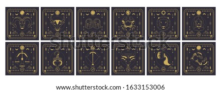 Set of zodiac signs icons. Astrology horoscope with signs and planets. Сток-фото ©