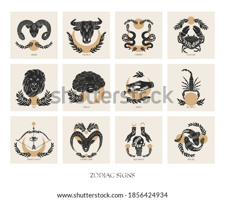 Set of Zodiac signs icons in boho style. trendy vector illustrations.