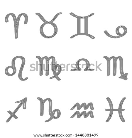 Set of zodiac signs, zodiac symbols, linear drawing, zodiac signs in black lines on a white background, vector illustration, eps 10