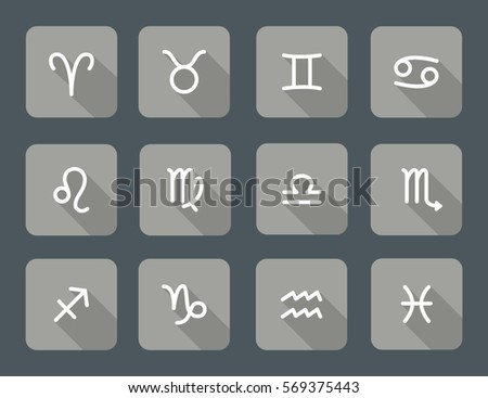 Set of zodiac symbols, gray icons with shadow on the dark gray background #569375443