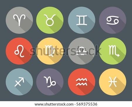 set of zodiac symbols  round